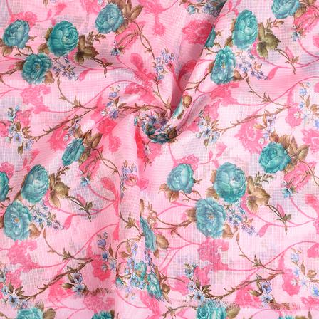 Pink and Green Flower Kota Doria Fabric-25115