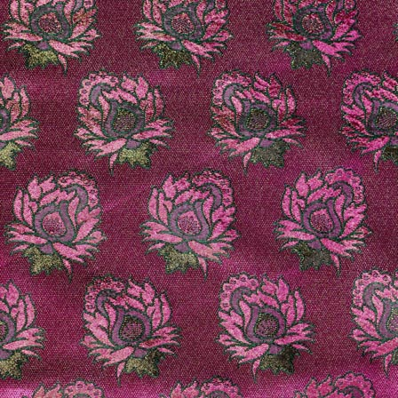 Pink and Green Flower Pattern Indian Chanderi Indian Fabric-4394