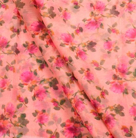 Pink and Green Flower Pattern Organza Silk Fabric-50015