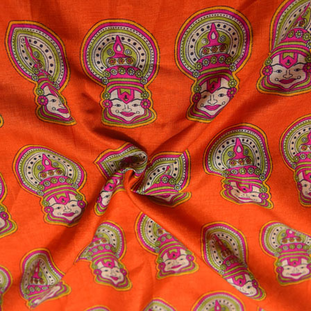 Pink and Green Kuchipudi Face Design On Orange Kalamkari Manipuri Silk-16133
