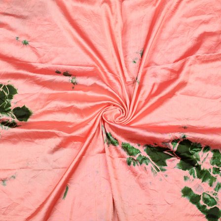 Pink and Green Satin Batik Fabric-32072