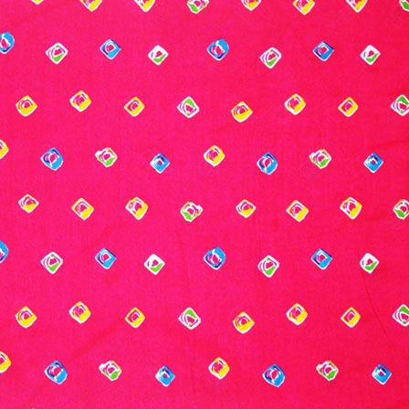 Pink and Multicolor Shibori Pattern Indian Cotton Fabric by the Yard