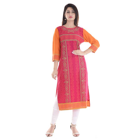 Pink and Orange 3/4 Sleeve Bandeji Print Rayon Kurti-3053
