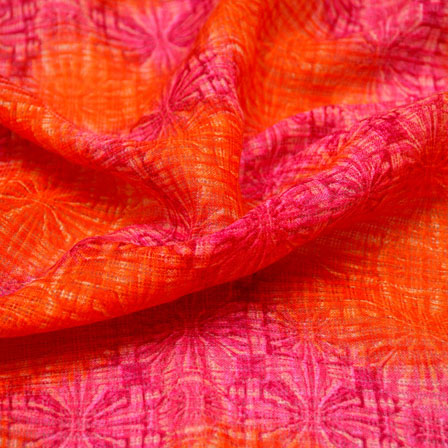 Pink and Orange Flower Design Kota Doria Fabric-6012