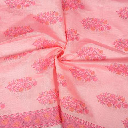 Pink and Orange Flower Design Silk Chanderi Fabric-9033