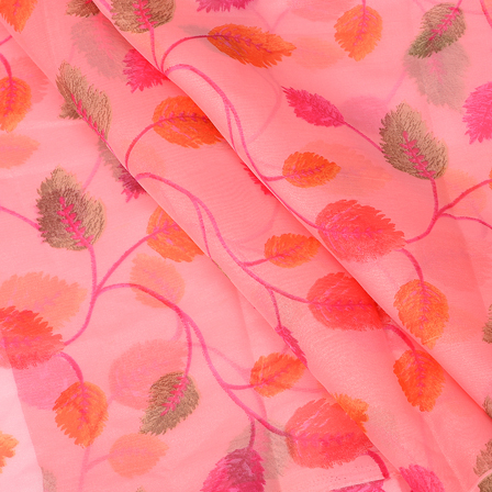 Pink and Orange Leaf Silk Organza Fabric -51109