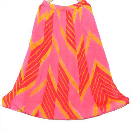 Pink and Orange Unique Design Georgette Skirt-23010