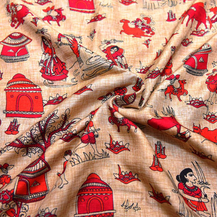 Pink and Orange Warli Pattern On Cream Kalamkari Manipuri Silk-16138