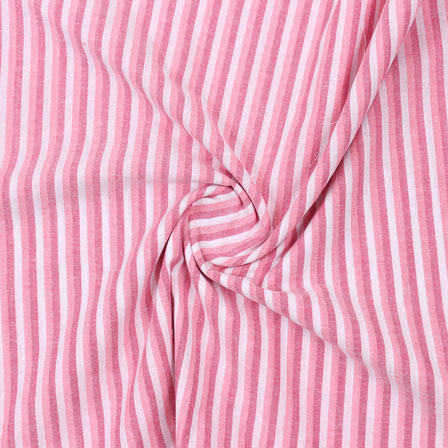 Pink and Peach White Striped Handloom Cotton Fabric-40755