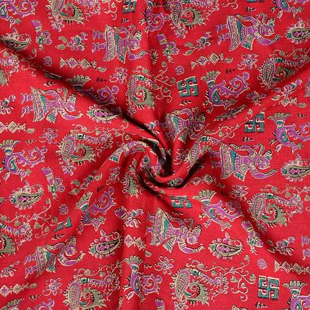 Pink and Purple Paisley Design Manipuri Kalamkari Silk Fabric-16164