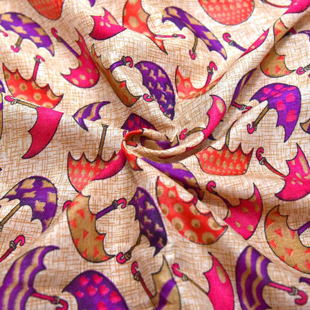 Pink and Purple Umbrella Design On Cream Kalamkari Manipuri Silk-16147