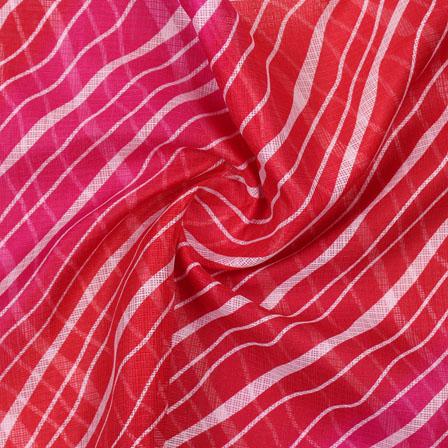 Pink and Red White Leheriya Kota Doria Fabric-25142