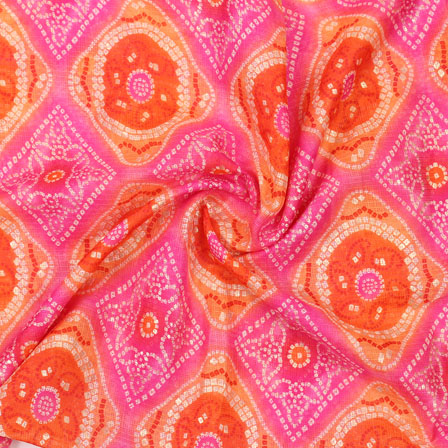 Pink and Red White Leheriya Kota Doria Fabric-25150