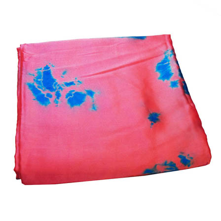Pink and Sky Blue Batik Satin Fabric-32002