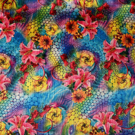 Pink and Sky Blue Flower Pattern Digital Print India Fabric-4406