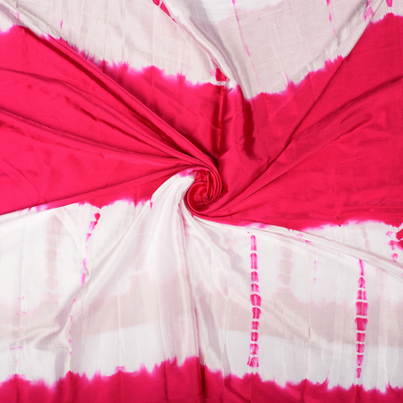 Pink and White Batik Satin Fabric-32052
