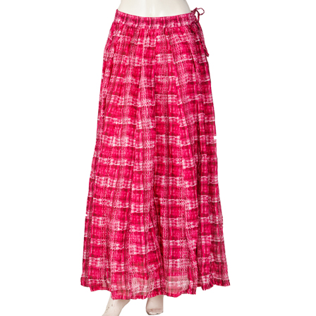 Pink and White Block Print Cotton Long Skirt-23046