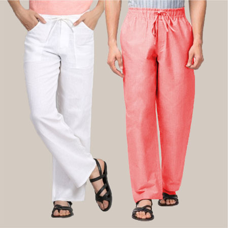 Combo of 2 Cotton Men Handloom Pant Pink and White-35982
