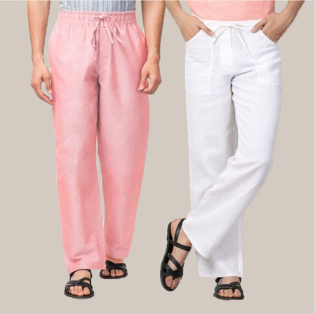 Combo of 2 Cotton Men Handloom Pant Pink and White-35983