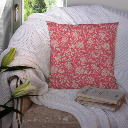 Pink and White Cotton Cushion Cover-35006