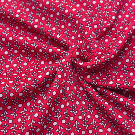 Pink and White Dot Pattern Crepe Fabric-18011