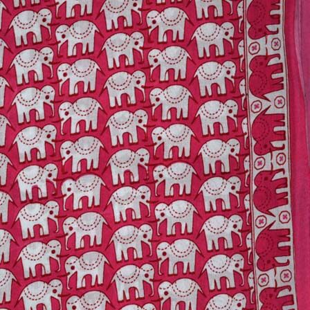 Pink and White Elephant Block Print Indian Cotton Fabric by the Yard