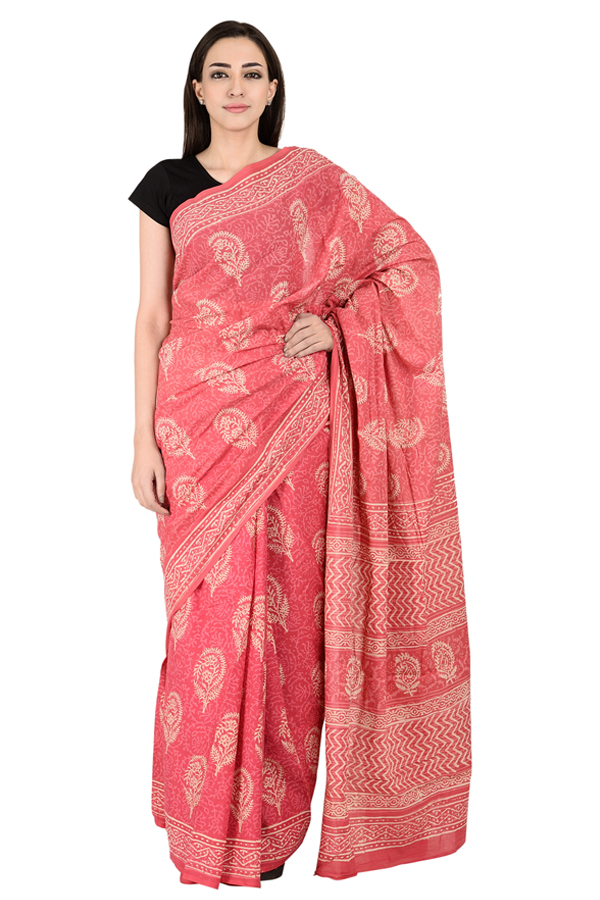Pink and White Floral Design Cotton Block Print Saree-20129