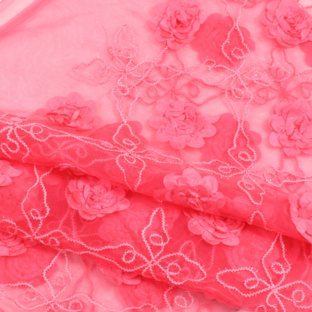 Pink and White Flower Net Embroidery Fabric-60872