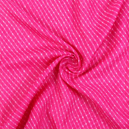 Pink and White Lehariya Design Kota Doria Fabric-25083