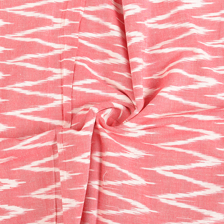 Pink and White Zig Zag Cotton Ikat Fabric-12146