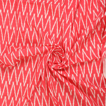 Pink and White Zig Zag Ikat Print Cotton Fabric-12133