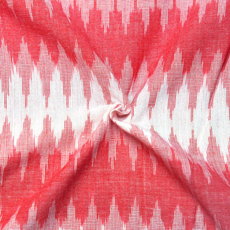 Pink and White Zig-Zag Pattern Ikat Fabric-12005