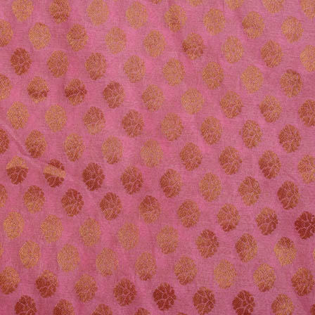 Pink and golden small flower brocade silk fabric-5055