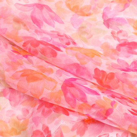 Pink and orange Floral Organza Silk Fabric-51098