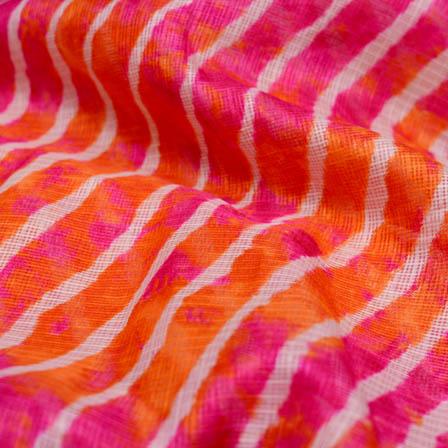 Pink and orange leharia kota doria fabric-4915
