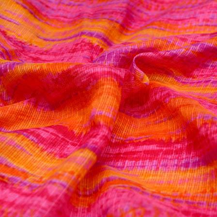 Pink and orange tie dye kota doria fabric-4926