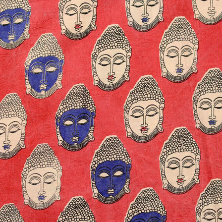 Pink-beige and blue small buddha printed cotton kalamkari fabric 4473