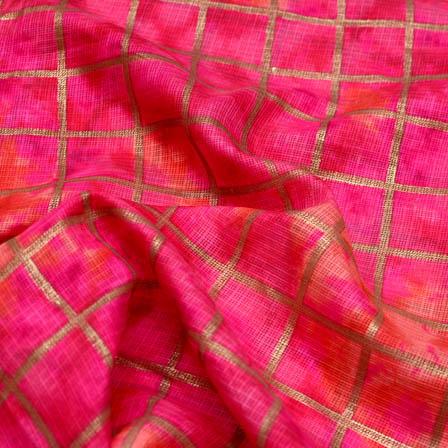 Pink foil printed kota doria fabric-4929
