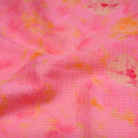 Pink shibori kota doria fabric-4957