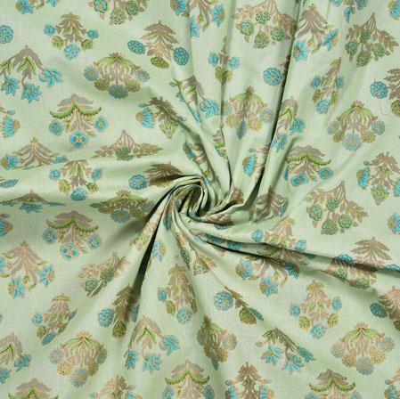 PistaGreen Golden Flower Cotton Foil Print Fabric-28317