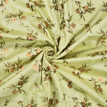 PistaGreen Golden Flower Jam Cotton Print Fabric-28382