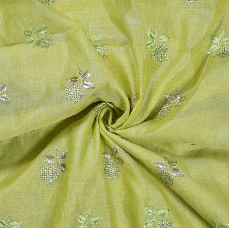 PistaGreen Silver Flower Burbari Big Embroidery Fabric-28302