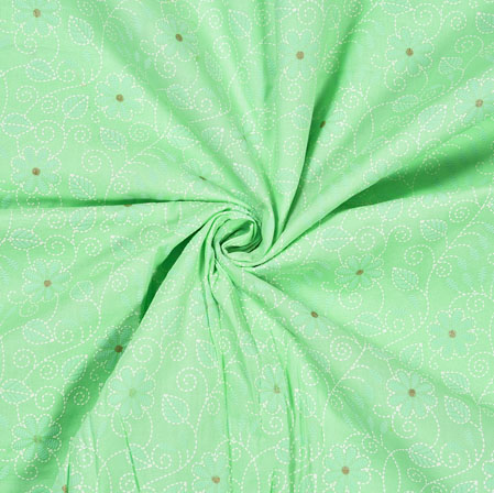 PistaGreen White Flower Jam Cotton Print Fabric-28201