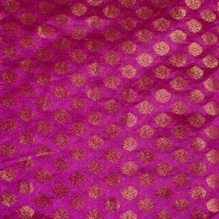 Pruple and Golden Flower Pattern Indian Brocade Fabric-4301