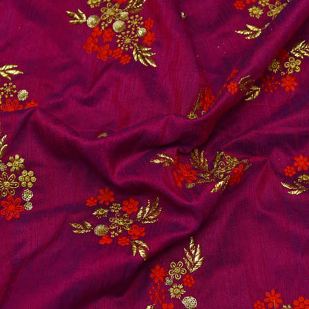 Purple Banarasi Dupion Base Fabric With Red and Golden Floral Embroidery-60020