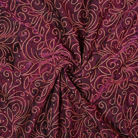 Purple Beige Flower Foil Work Kota Doria Fabric-42591