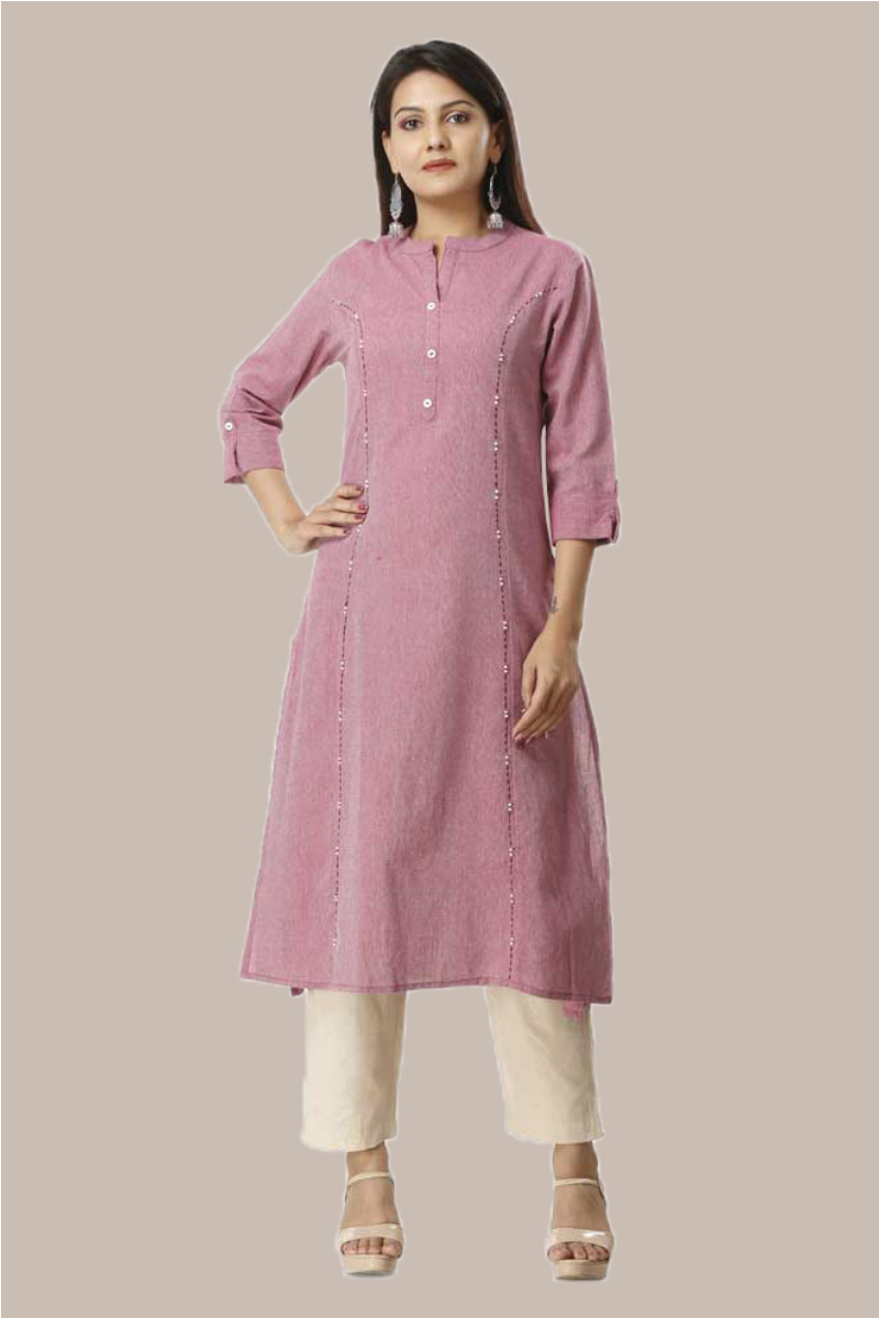 Kurta Pant Set-Purple Beige Handloom Cotton Kurta Plain Ankle Length Pant Set-33742