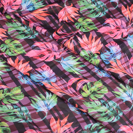 Purple-Black and Green Floral Silk Crepe Fabric-18105