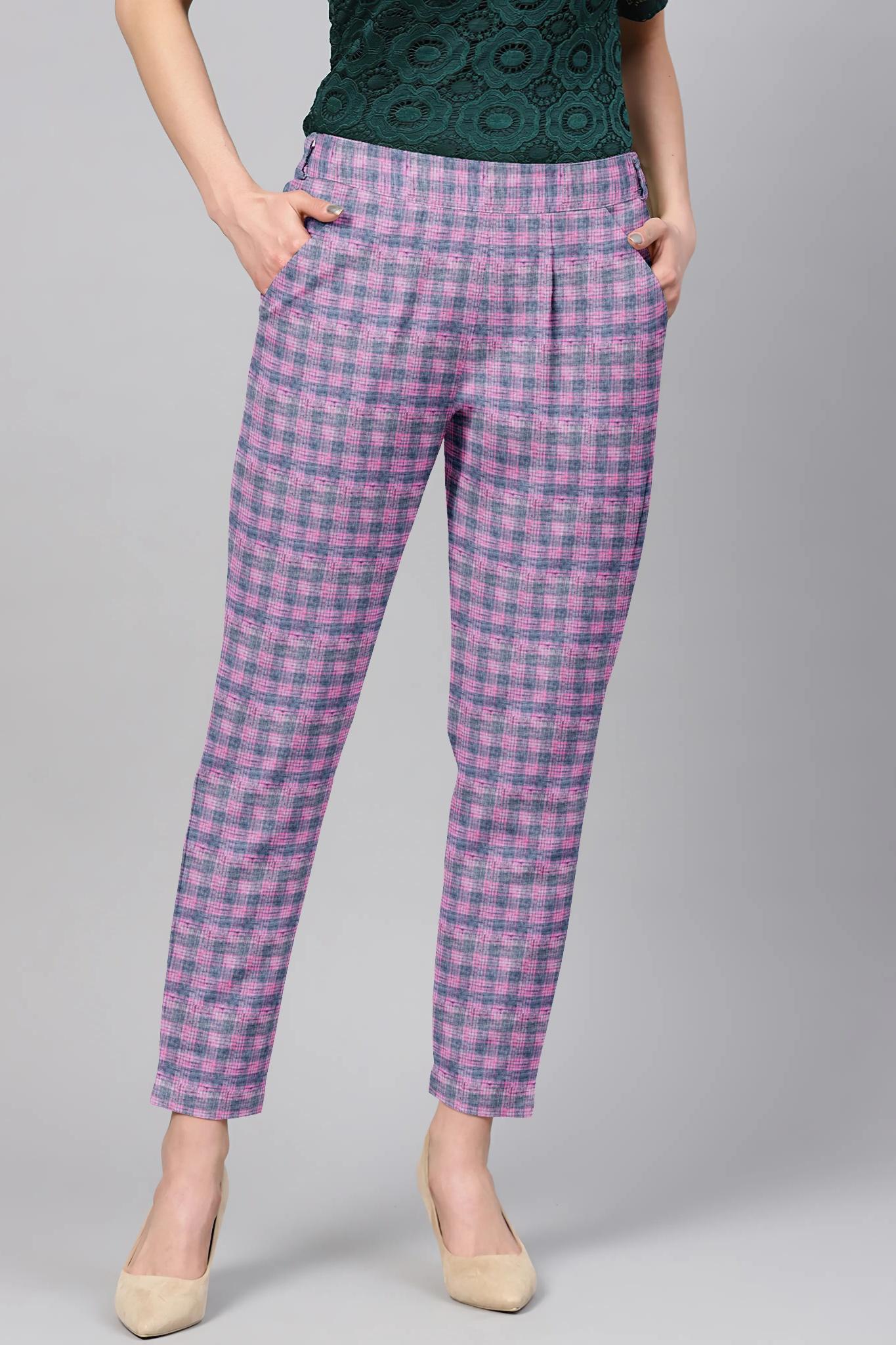 Purple Blue Cotton Check Regular Fit Solid Trouser-36071