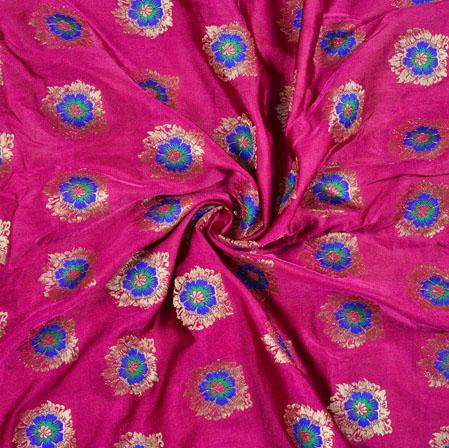 Purple Blue and Golden Floral Satin Brocade Meena Fabric-12927